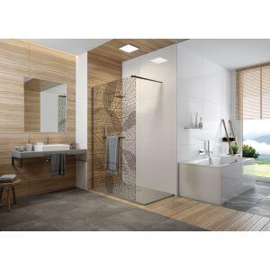 FRISBEE paroi douche ouverte avec barre porte-serviette / finition Noir