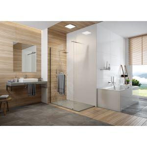 FRISBEE Paroi fixe douche ouverte avec barre porte-serviette