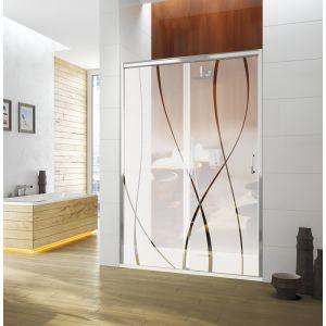 Porte coulissante sans seuil TYXO 1 panneau mobile et 1 panneau fixe