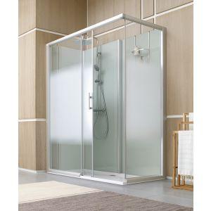 cabine de douche BIEN-ETRE version AVANTAGE fonds en verre gris et vitrage dépoli dégradé
