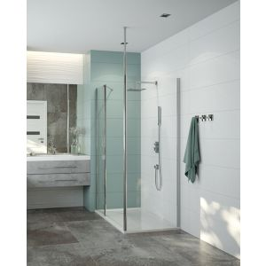 PREFACE Paroi fixe douche ouverte avec stabilisation fixation murale ou plafond