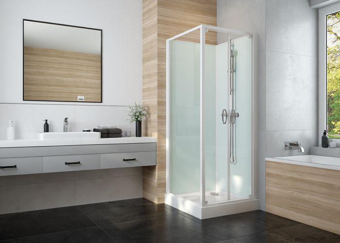 IZI GLASS 2 cabine de douche complète avec portes battantes accès de face